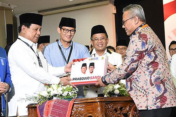 Dokumen Pencalonan Prabowo-Sandiaga Uno Dinyatakan Lengkap oleh KPU