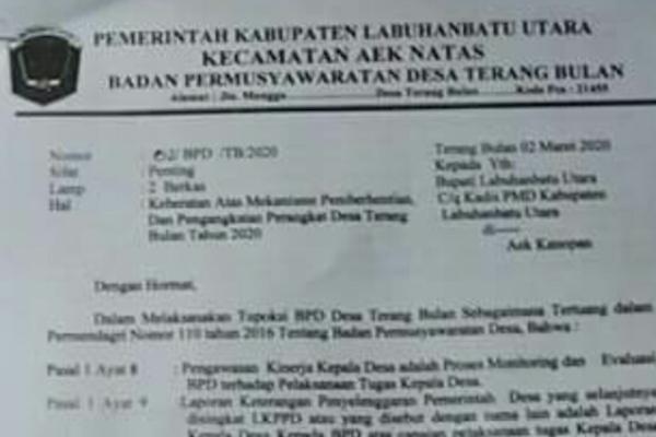 Surat Keberatan Badan Permusyawaratan Desa (BPD) Terang Bulan